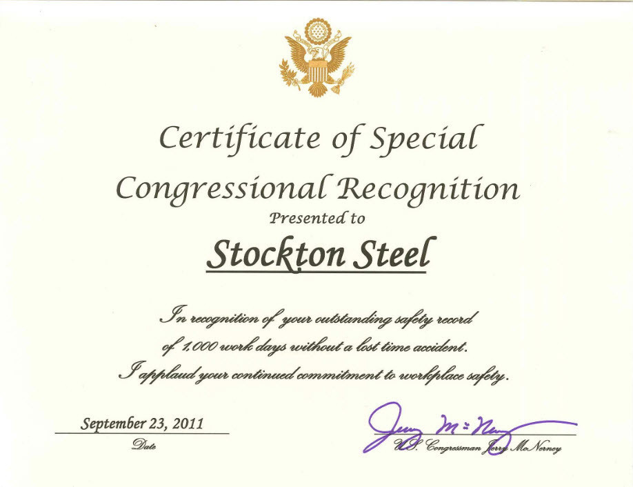 Award: Congressional Recognition